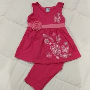 NWOT Tank and Capri Set with Rose Detail 18 Months